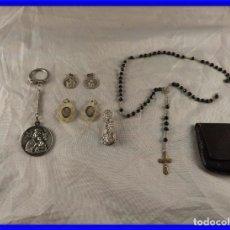 Antigüedades: MEDALLAS LLAVERO ROSARIO OBJETOS RELIGIOSOS ANTIGUOS. Lote 194866522