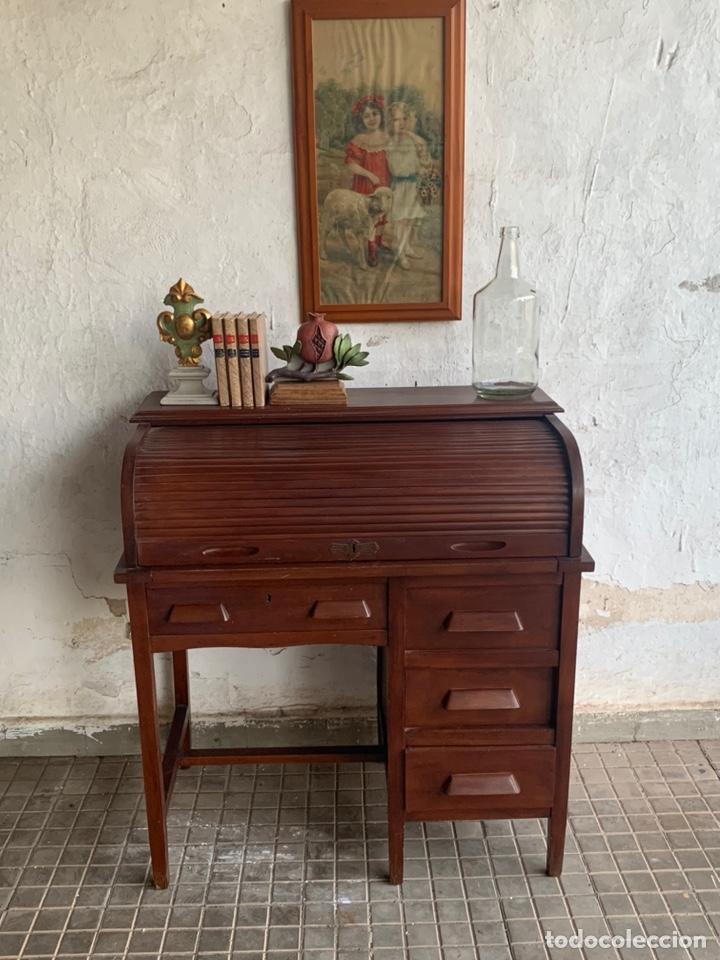 Antigüedades: ESCRITORIO BURÓ DE PERSIANA TIPO AMERICANO - Foto 25 - 194867720