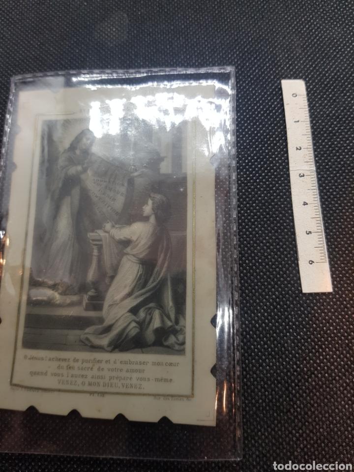 Antigüedades: Rara estampa religiosa sobre celuloide - Foto 2 - 194876588