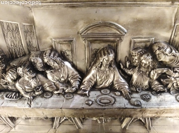 Antigüedades: Cuadro de la Sagrada Cena en relieve. - Foto 2 - 194882477