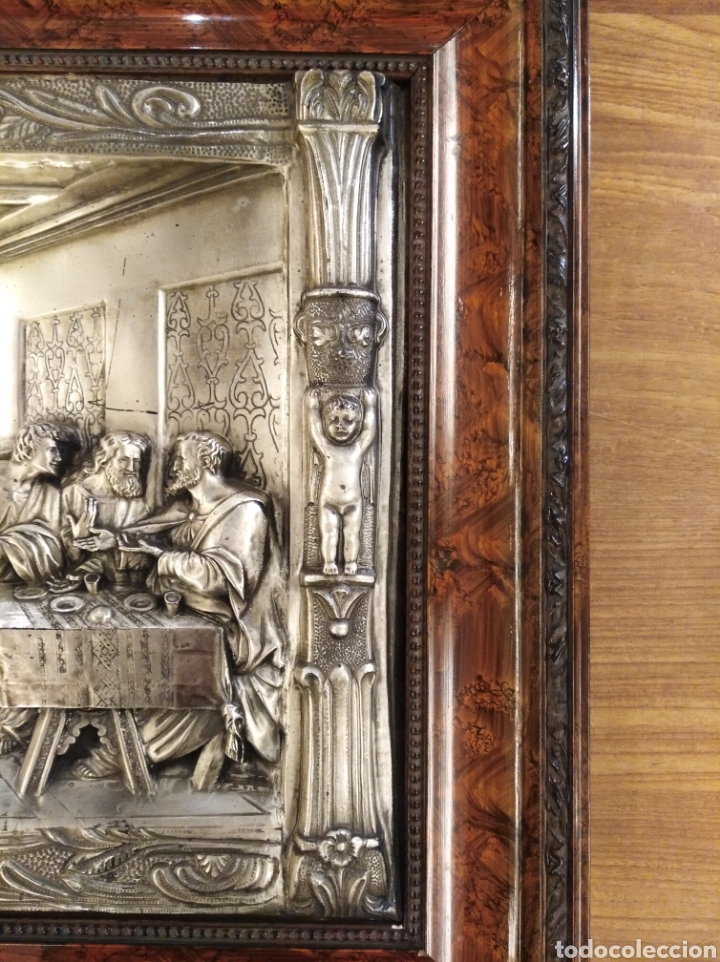 Antigüedades: Cuadro de la Sagrada Cena en relieve. - Foto 4 - 194882477