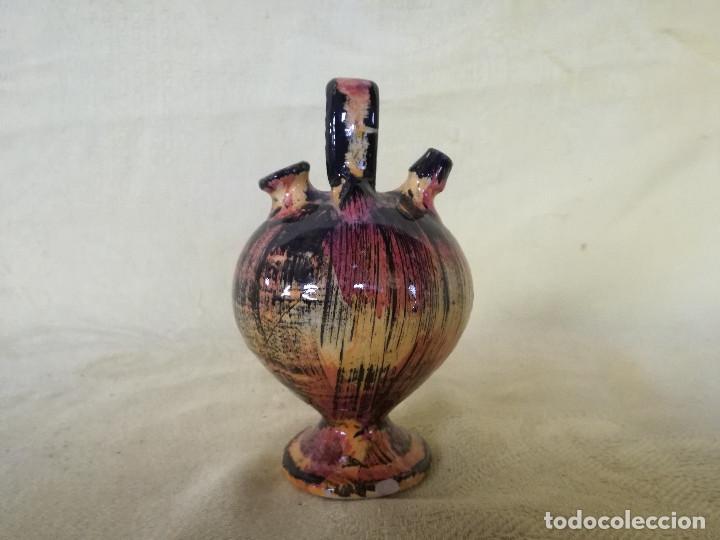 CURIOSO BOTIJO DE CERÁMICA, BARRO O SIMILAR, MUY COLORIDO, UNOS 13 CMS. DE ALTO (Antigüedades - Porcelanas y Cerámicas - Otras)