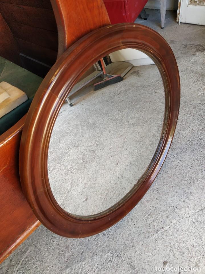 Antigüedades: Espejo redondo con marco madera de caoba. - Foto 2 - 194885642