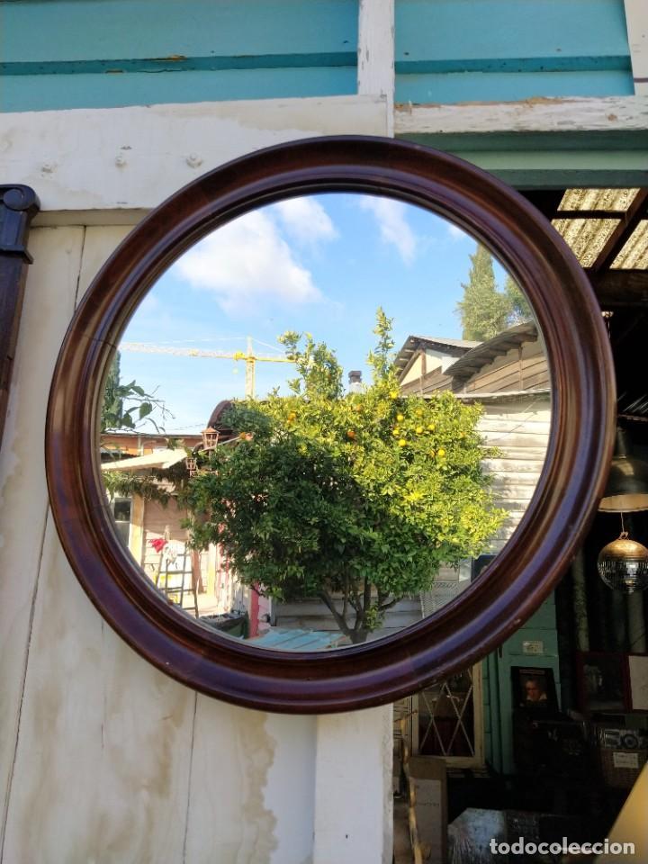 Antigüedades: Espejo redondo con marco madera de caoba. - Foto 3 - 194885642