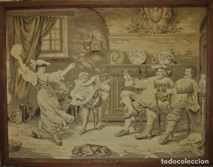 TAPIZ SIGLO XIX , ESCENA ODALISCA. ENMARCADO (Antigüedades - Hogar y Decoración - Tapices Antiguos)