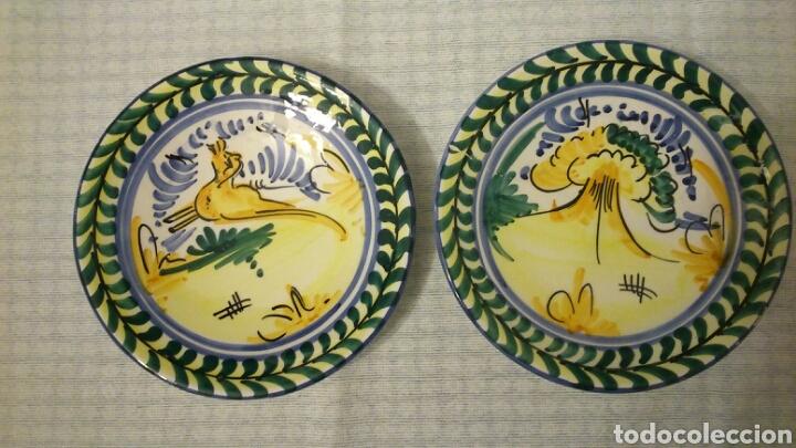 Antigüedades: Dos platos de Triana ( Sevilla, 18 cm de diámetro) - Foto 2 - 194891735