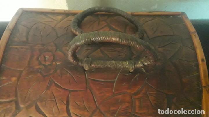 Antigüedades: Caja tallada teka y bambu - Foto 2 - 194892250