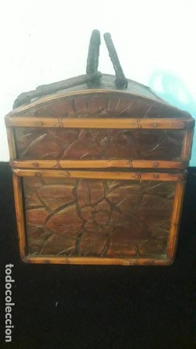 Antigüedades: Caja tallada teka y bambu - Foto 4 - 194892250