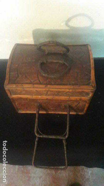 Antigüedades: Caja tallada teka y bambu - Foto 8 - 194892250