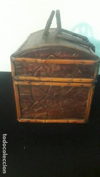 Antigüedades: Caja tallada teka y bambu - Foto 11 - 194892250