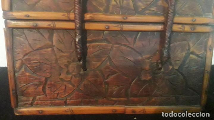 Antigüedades: Caja tallada teka y bambu - Foto 12 - 194892250