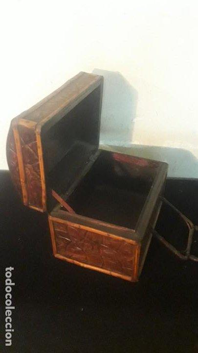 Antigüedades: Caja tallada teka y bambu - Foto 17 - 194892250
