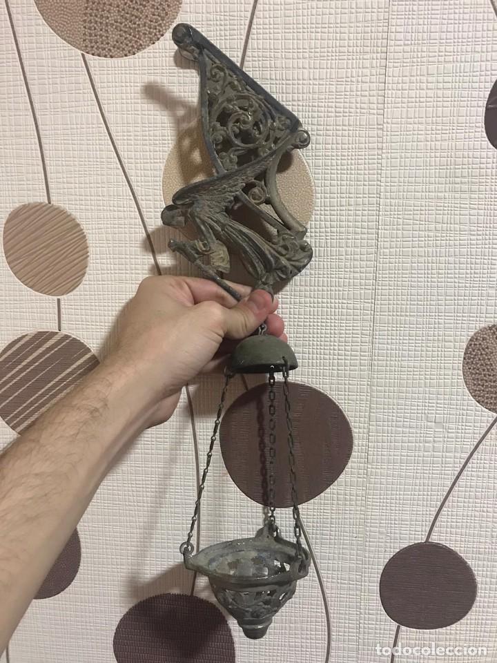 LAMPARA VOTIVA NEOGOTICA DE CALAMINA (Antigüedades - Iluminación - Lámparas Antiguas)