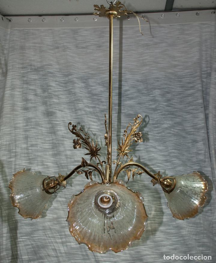 Antigüedades: LAMPARA MODERNISTA DE BRONCE PULIDA Y ELECTRIFICADA, C 1900 - Foto 5 - 194903847