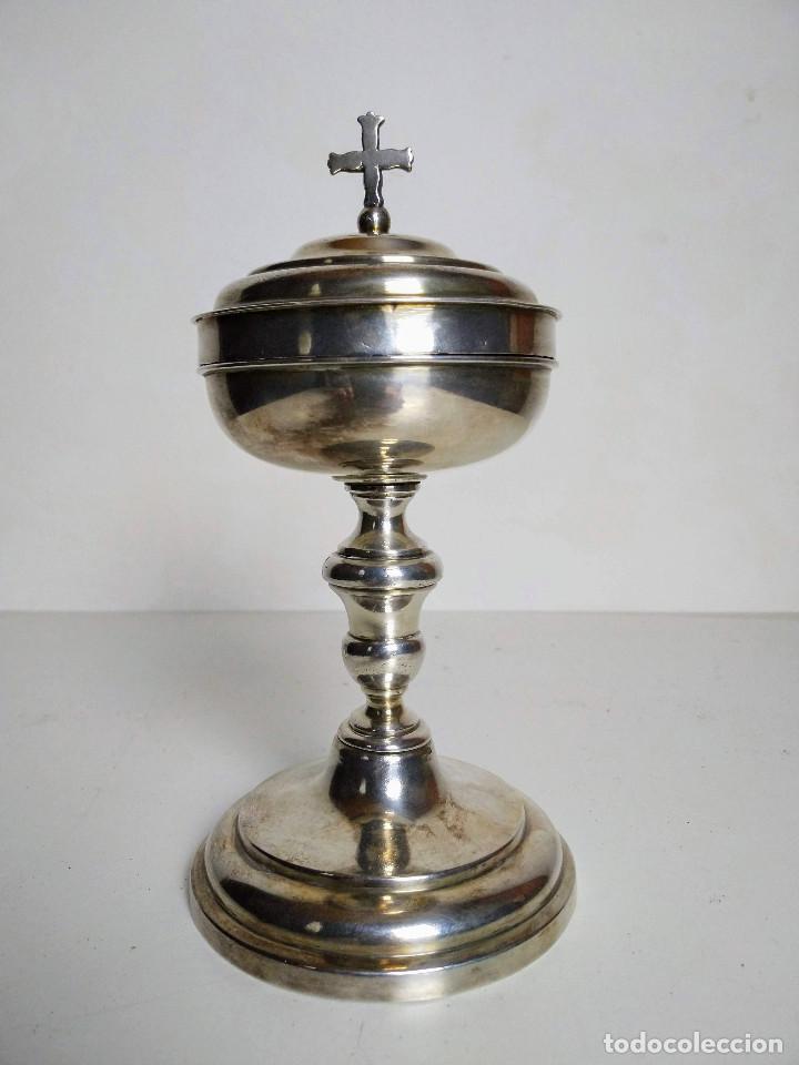 COPÓN O CIBORIO EN PLATA, FINALES DEL SIGLO XVIII (Antigüedades - Religiosas - Artículos Religiosos para Liturgias Antiguas)