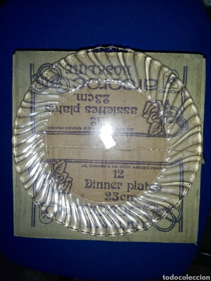 Antigüedades: LOTE DE DOS CAJAS DE 12 PLATOS ARCOROC ROSALINE - Foto 3 - 194906418