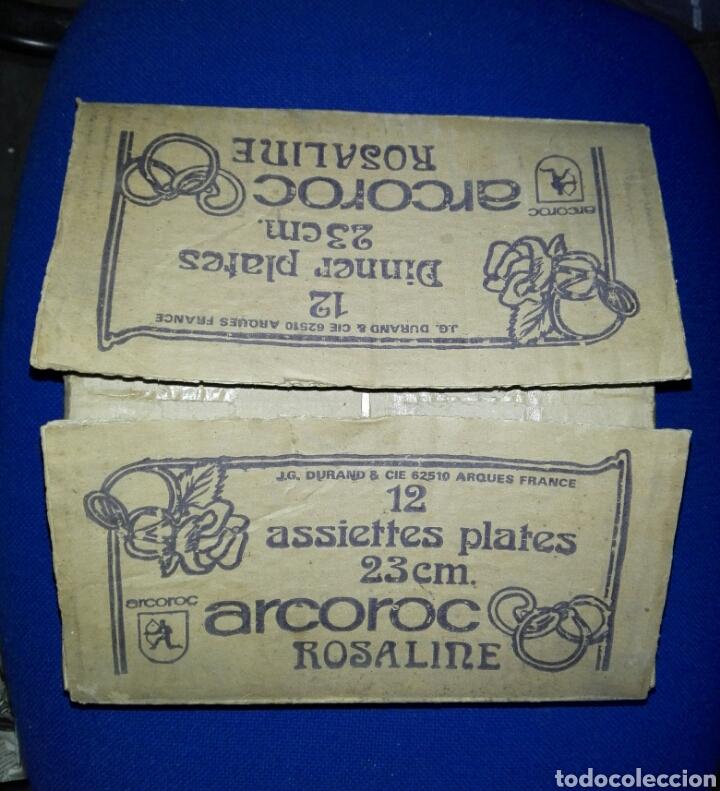 LOTE DE DOS CAJAS DE 12 PLATOS ARCOROC ROSALINE (Antigüedades - Hogar y Decoración - Platos Antiguos)