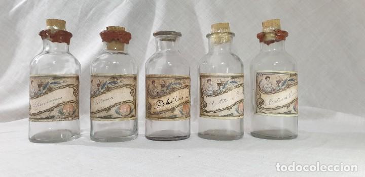 BOTELLAS FARMACIA LOTE 5 UNIDADES (Antigüedades - Cristal y Vidrio - Farmacia )