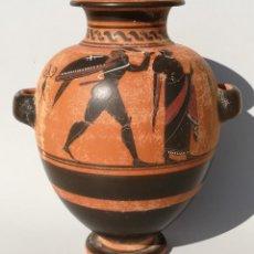 Antigüedades: ESTAMNOS CERÁMICA GRIEGA DE FIGURAS NEGRAS ESTILO ÁTICO (REPRODUCCIÓN). Lote 194922248