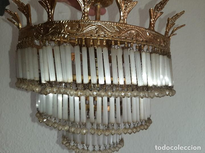 Antigüedades: LOTE SEIS LAMPARAS MAS DE 200 LAGRIMAS CADA UNA- VER FOTOS DETALLES - Foto 4 - 194932438