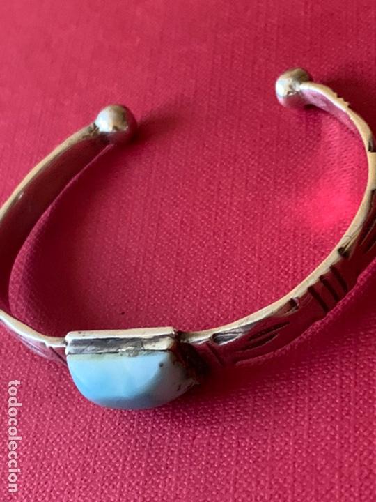 Antigüedades: Preciosa pulsera esclava, en plata de Ley y piedra turquesa - Foto 5 - 194937398
