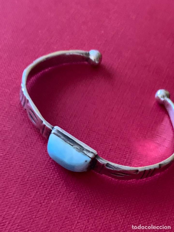 Antigüedades: Preciosa pulsera esclava, en plata de Ley y piedra turquesa - Foto 6 - 194937398
