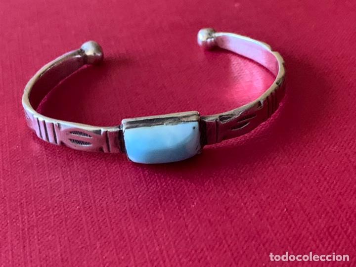 Antigüedades: Preciosa pulsera esclava, en plata de Ley y piedra turquesa - Foto 7 - 194937398
