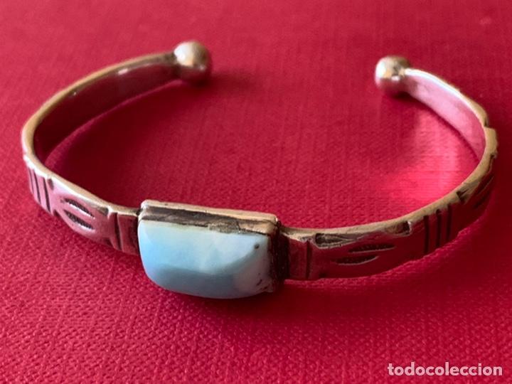 Antigüedades: Preciosa pulsera esclava, en plata de Ley y piedra turquesa - Foto 8 - 194937398