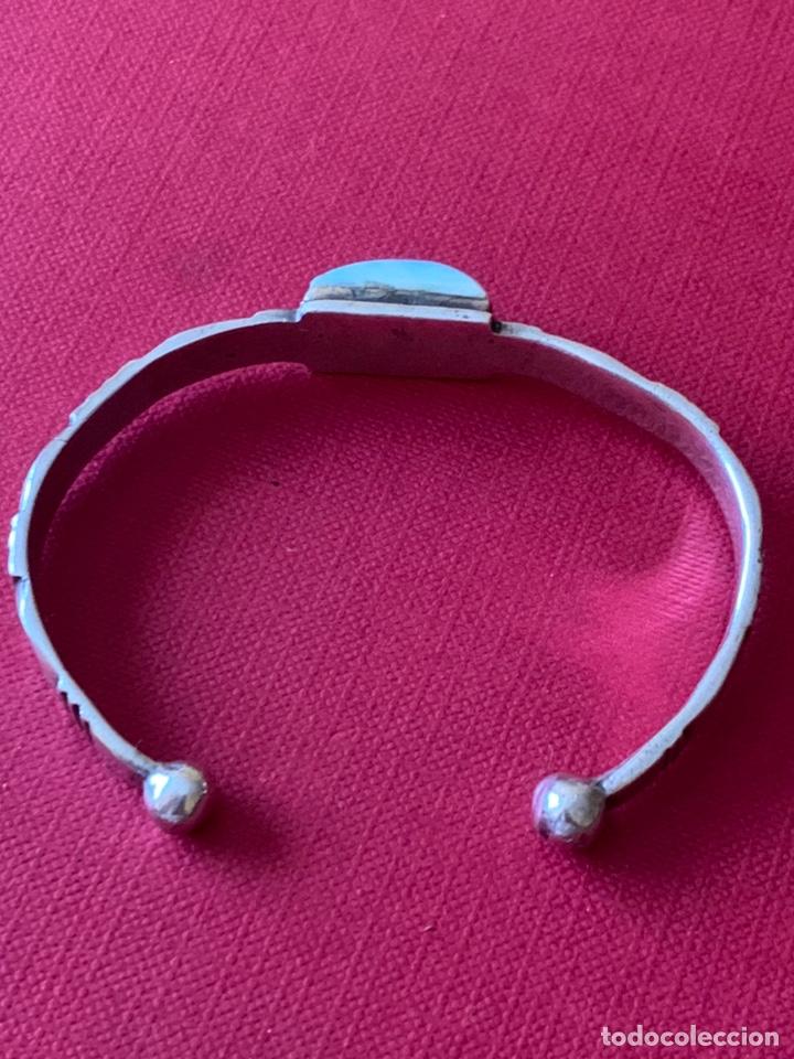 Antigüedades: Preciosa pulsera esclava, en plata de Ley y piedra turquesa - Foto 9 - 194937398