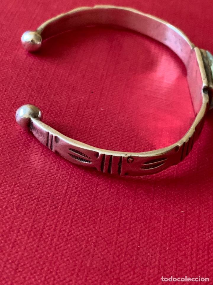 Antigüedades: Preciosa pulsera esclava, en plata de Ley y piedra turquesa - Foto 10 - 194937398