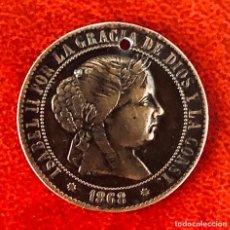 Antigüedades: BONITA MEDALLA MONEDA ISABELINA DE BRONCE PARA COLGANTE SIGLO XIX. Lote 194940302