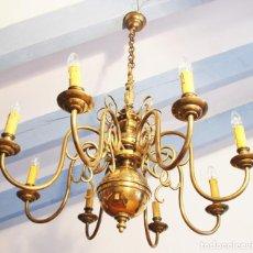 Antigüedades: MAGNIFICA LAMPARA HOLANDESA DE BRONCE DE 8 BRAZOS. Lote 194953450