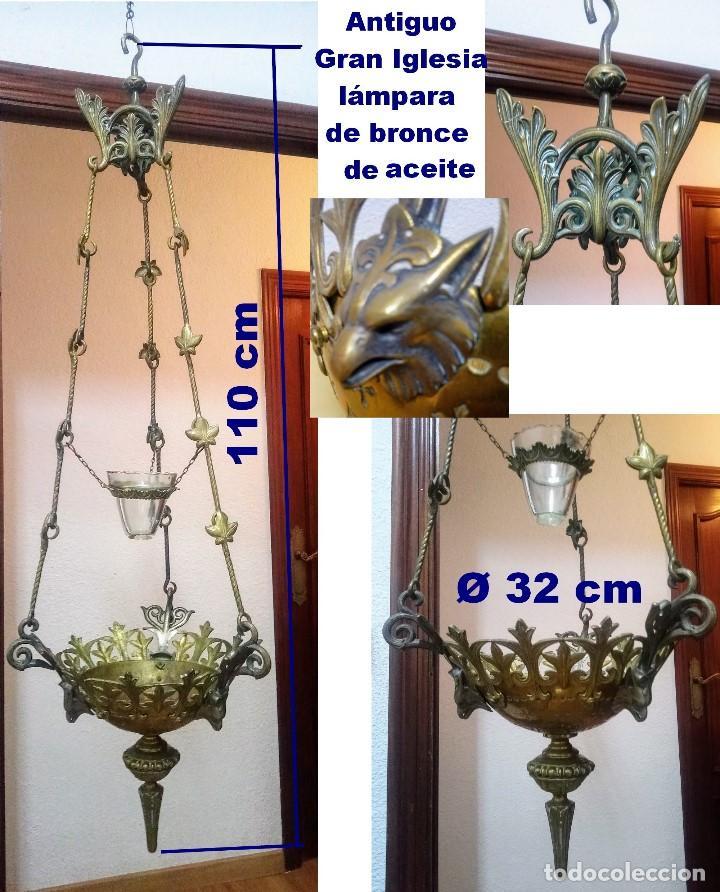 ANTIGUO GRANDE DE BRONCE, LÁMPARA DE ACEITE, FRANCÉS, (Antigüedades - Iluminación - Lámparas Antiguas)