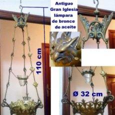 Antigüedades: ANTIGUO GRANDE DE BRONCE, LÁMPARA DE ACEITE, FRANCÉS, . Lote 194956296