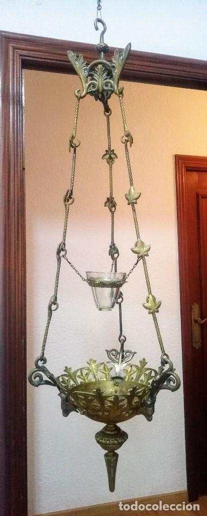Antigüedades: Antiguo Grande de bronce, lámpara de aceite, Francés, - Foto 2 - 194956296