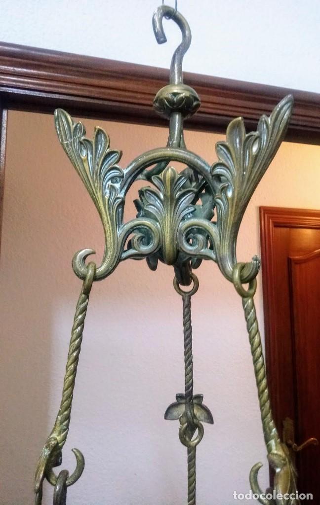 Antigüedades: Antiguo Grande de bronce, lámpara de aceite, Francés, - Foto 3 - 194956296