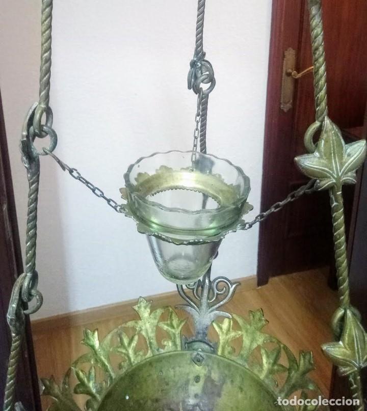 Antigüedades: Antiguo Grande de bronce, lámpara de aceite, Francés, - Foto 5 - 194956296