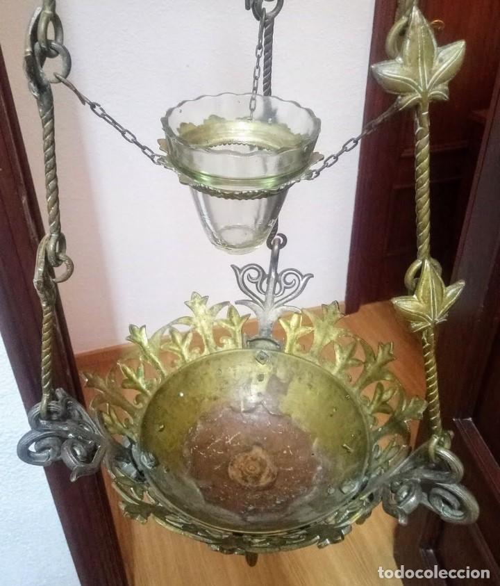 Antigüedades: Antiguo Grande de bronce, lámpara de aceite, Francés, - Foto 6 - 194956296