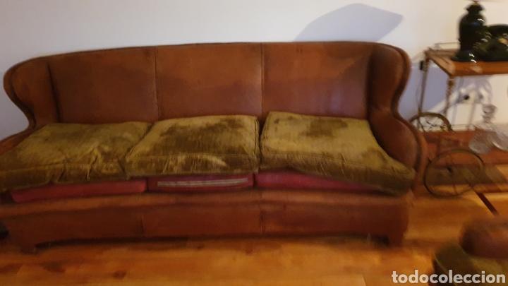 Antigüedades: Sofa en piel marron y 2 sillones - Foto 2 - 194957800