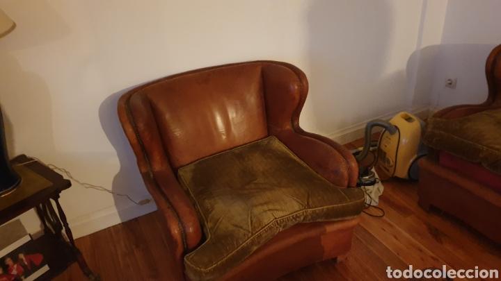 Antigüedades: Sofa en piel marron y 2 sillones - Foto 4 - 194957800