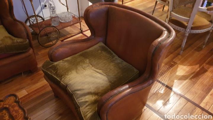 Antigüedades: Sofa en piel marron y 2 sillones - Foto 5 - 194957800