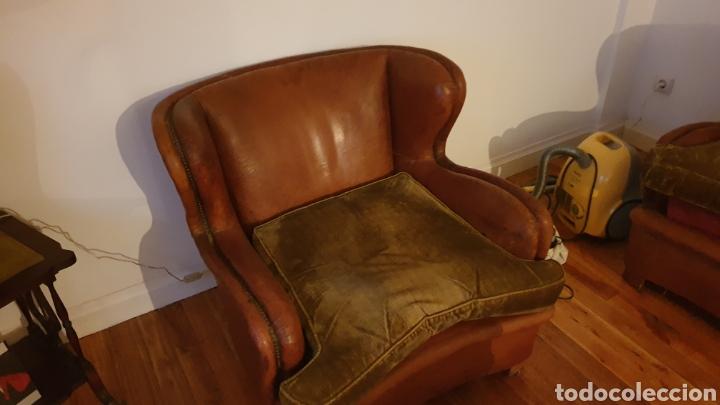 Antigüedades: Sofa en piel marron y 2 sillones - Foto 6 - 194957800
