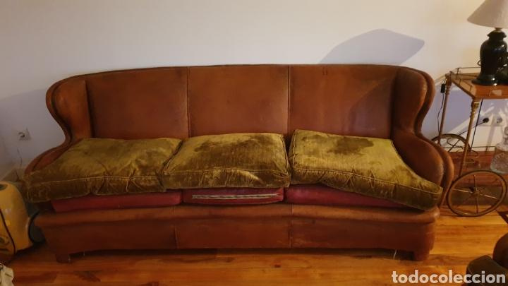 Antigüedades: Sofa en piel marron y 2 sillones - Foto 7 - 194957800