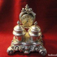 Antigüedades: TINTERO Y PORTA RELOJ. Lote 194960377