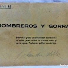 Antigüedades: PATRONES GRADUABLES SISTEMA MARTÍ.SOMBREROS Y GORRAS.SOBRECON PLANCHA PATRONES.AÑOS 20.SERIE 13 . Lote 194965477