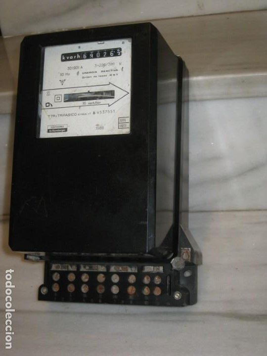 Antigüedades: Antiguo contador de la luz trifasico a 4 hilos - Ladis & GyR. 1988. - Foto 5 - 194966657