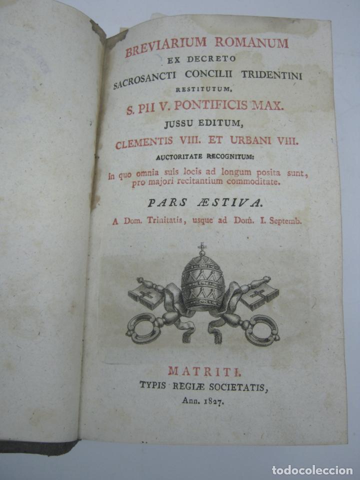 Antigüedades: s. XIX Libro con cierres metalicos . BREVIARIUM ROMANUM . CONCILI TRIDENTINI - Bellos Grabados - Foto 2 - 194971793