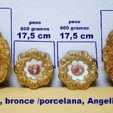 Antigüedades: PLATOS DE BRONCE, CON PINTADO A MANO PORCELANA ANGELIKA KAUFFMANN. Lote 194987422