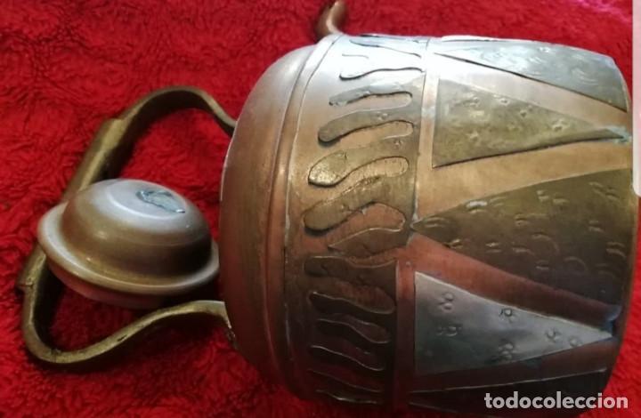 Antigüedades: Antigua tetera de cobre con tapa. - Foto 11 - 194995612