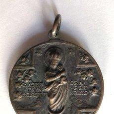 Antigüedades: GRAN MEDALLON EN BRONCE / VIRGEN DE EL PILAR - SAN LUIS GONZAGA ( 50 GRS. - 4,5 CM. DIAMETRO ). Lote 194996210